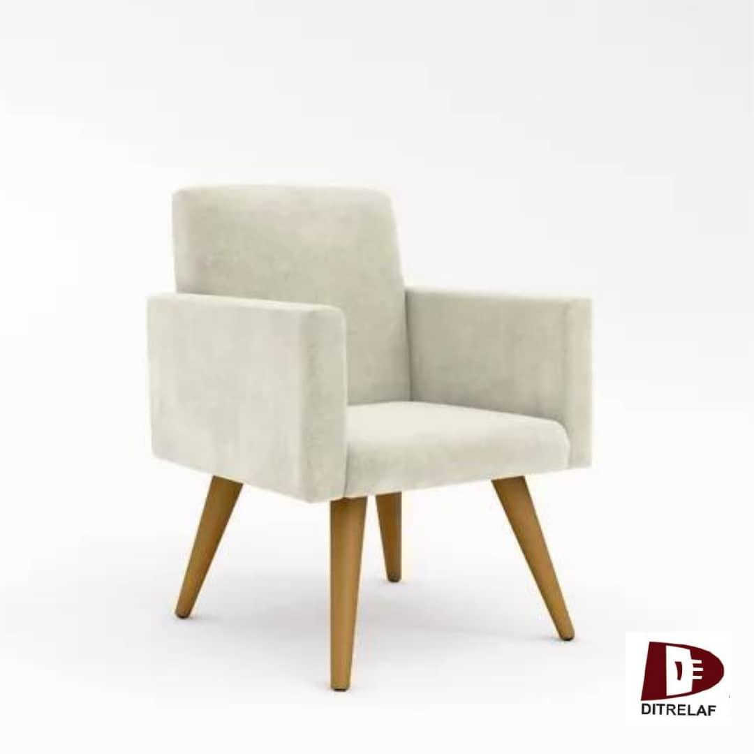 Cadeira Poltrona Decorativa Com Pés De Madeira